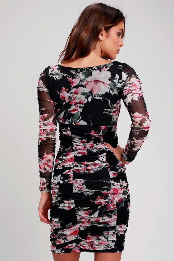 1a953fd1d3e2 Sexy Black Floral Print Mesh Dress - Ruched Dress - Bodycon Dress