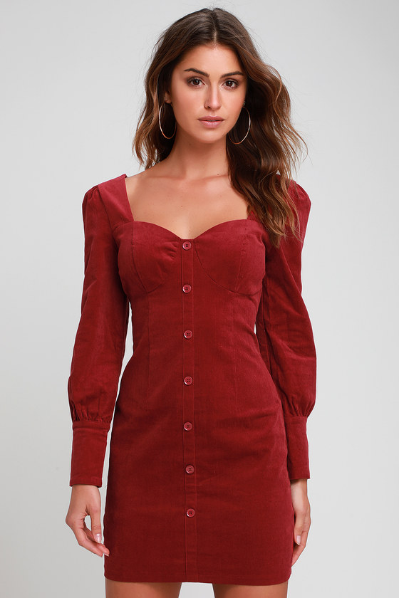 7ccec24bc40d Cute Wine Red Dress - Corduroy Dress - Long Sleeve Bodycon Dress