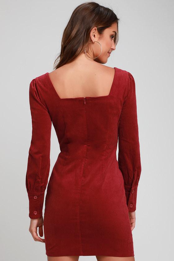 a63f66d638d4 Cute Wine Red Dress - Corduroy Dress - Long Sleeve Bodycon Dress