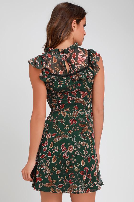 4af45f29d76 Moon River Dress - Green Floral Print Dress - Ruffled Mini Dress