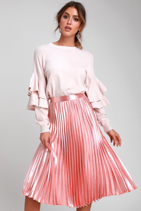 509c23de3f Chic Blush Pink Skirt - Pleated Midi Skirt - Blue Midi Skirt