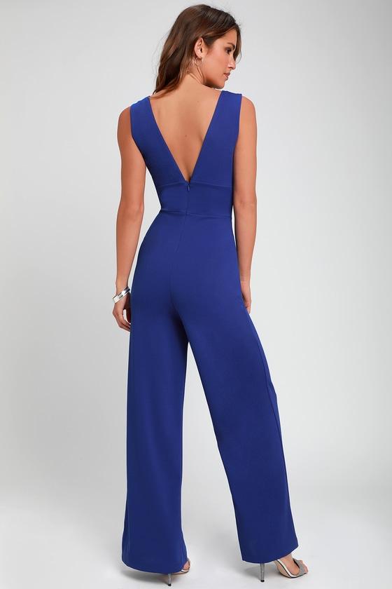 e83750418b7b Sexy Royal Blue Jumpsuit - Sleeveless Wide-Leg Jumpsuit