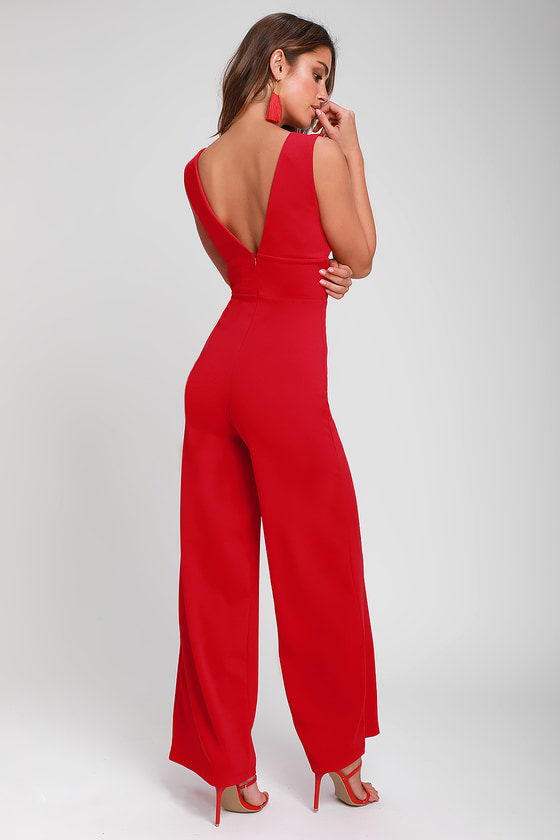 a0302ed148b Sexy Red Jumpsuit - Sleeveless Wide-Leg Jumpsuit