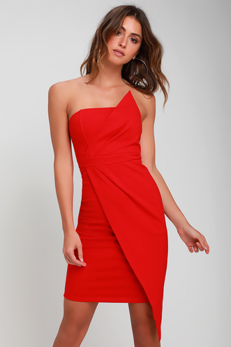 bf4e466ef07d0 Queen of the City Red Strapless Bodycon Dress