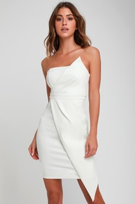 queen of the city white strapless bodycon dress