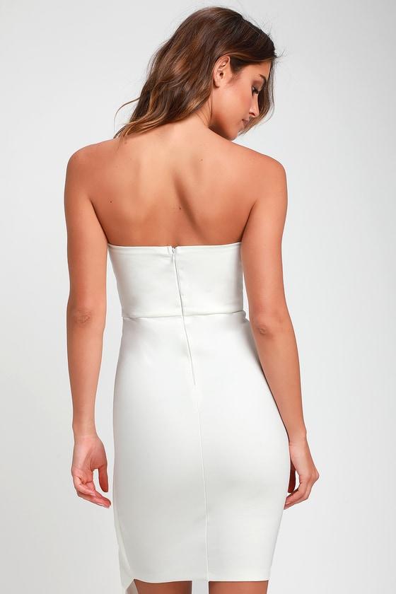 d9ea99bed1 Sexy White Dress - Strapless Dress - Strapless Bodycon Dress