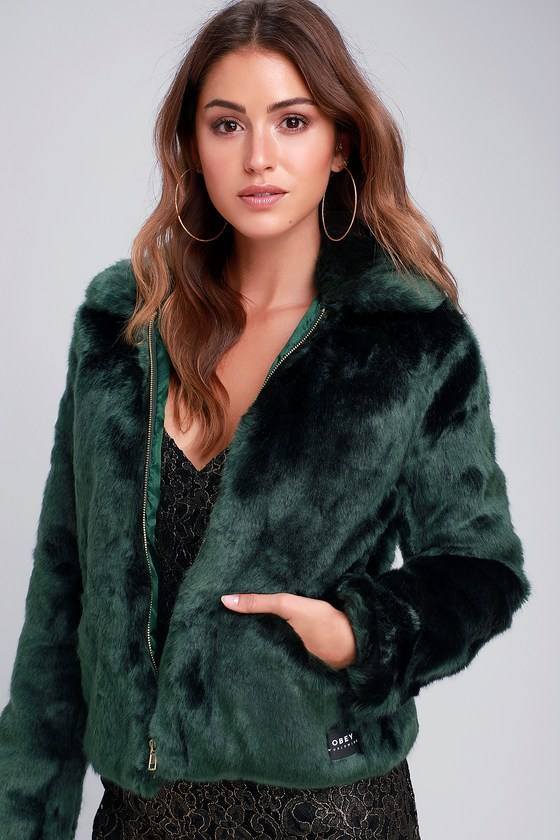 502bcfcfb9d Obey Kale - Faux Fur Jacket - Faux Fur Bomber Jacket