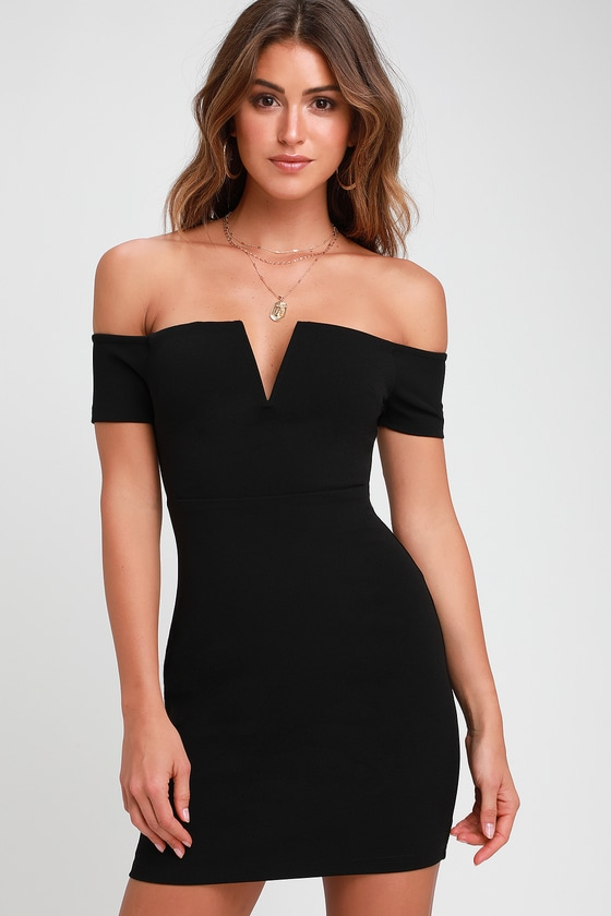 5a1000eaee5 Sexy Black Dress - Off-the-Shoulder Dress - Black Bodycon Dress