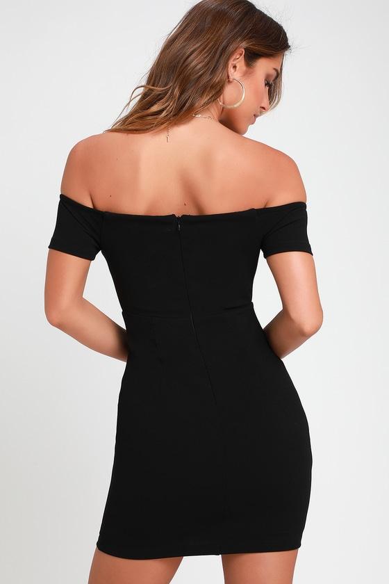 57bc26181a3e Sexy Black Dress - Off-the-Shoulder Dress - Black Bodycon Dress
