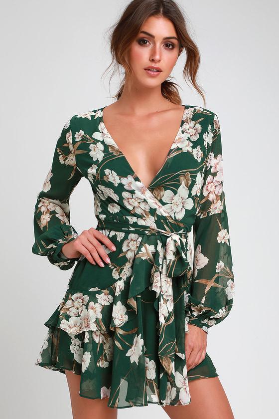 b79699c9911d Cute Green Dress - Floral Dress - Ruffled Dress - Mini Dress