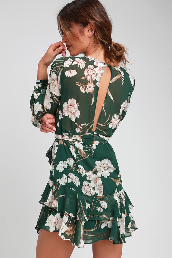 92904c4743b39 Cute Green Dress - Floral Dress - Ruffled Dress - Mini Dress
