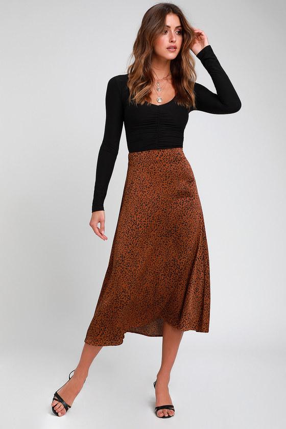 101dab75d2 Cool Brown Leopard Print Skirt - Satin Skirt - Leopard Midi Skirt