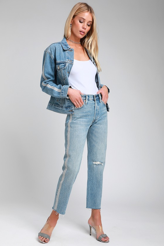 fad42448 Levi's 501 Crop Straight - Medium Wash Jeans - Rhinestone Jeans