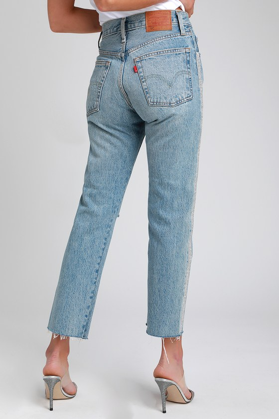 purchase newest multiple colors new styles 501 Crop Straight Medium Wash Distressed Rhinestone Jeans