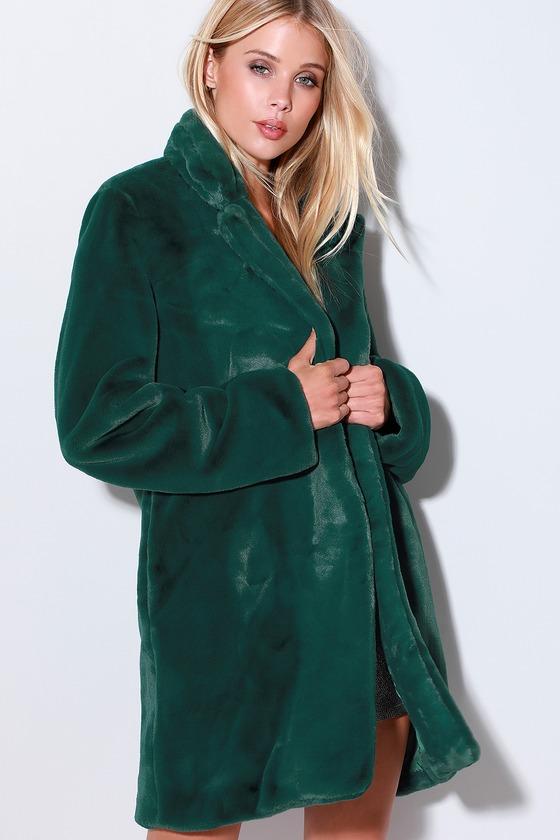 3adcd5fab1 Chic Forest Green Coat - Faux Fur Coat - Oversized Coat