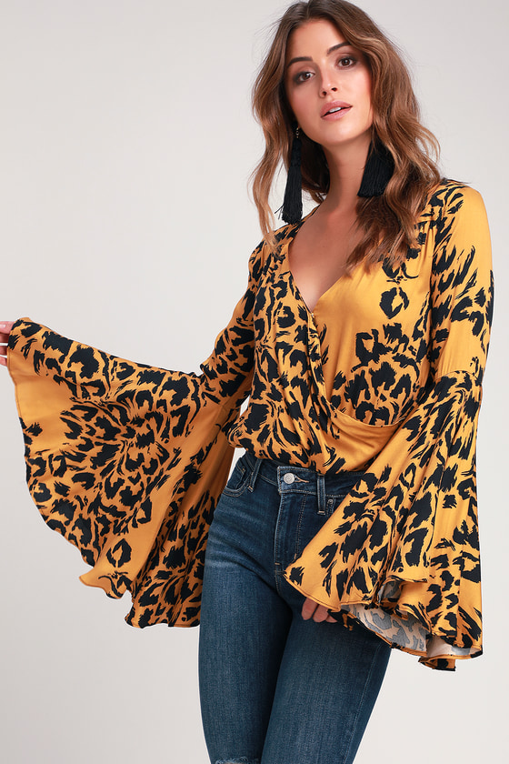 aa3c15528b Wild Nights Golden Yellow Leopard Print Bell Sleeve Bodysuit