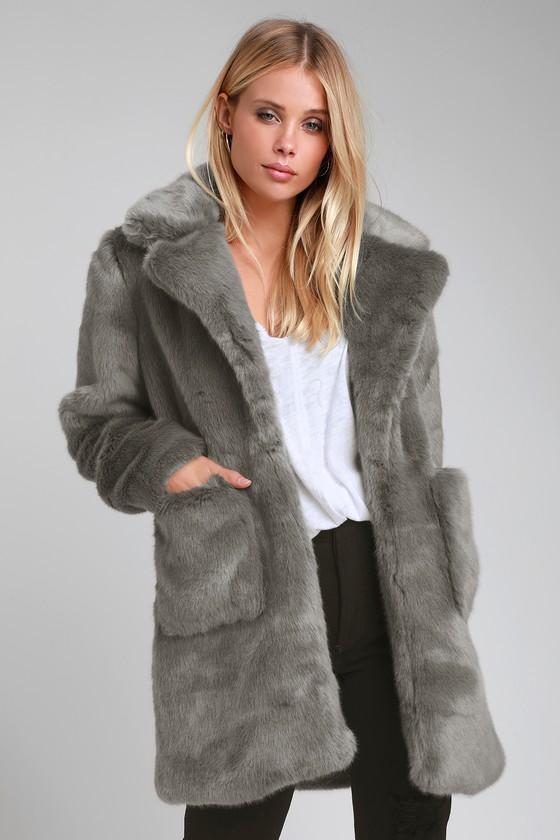 10d659e56db7 Cute Faux Fur Coat - Grey Faux Fur Coat - Plush Coat - Cozy Coat
