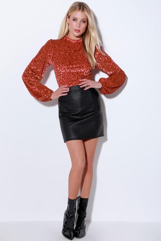 Chic Rust Red Leopard Print Bodysuit - Velvet Mesh Bodysuit 85f639b5a