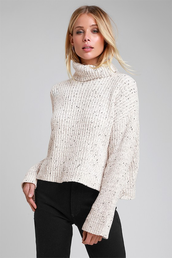 2774a5cb10 RD Style - Beige Marled Sweater - Chenille Turtleneck Sweater
