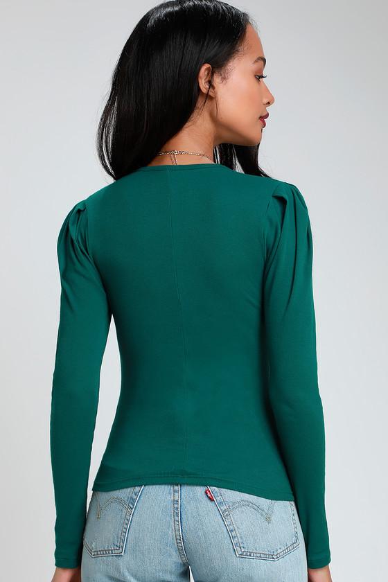 8f5e4c0860baec Free People Hey Lady - Green Long Sleeve Top - Puff Sleeve Top