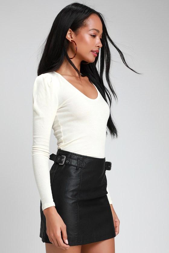 74b4b865a Free People Charli - Black Mini Skirt - Vegan Leather Mini Skirt