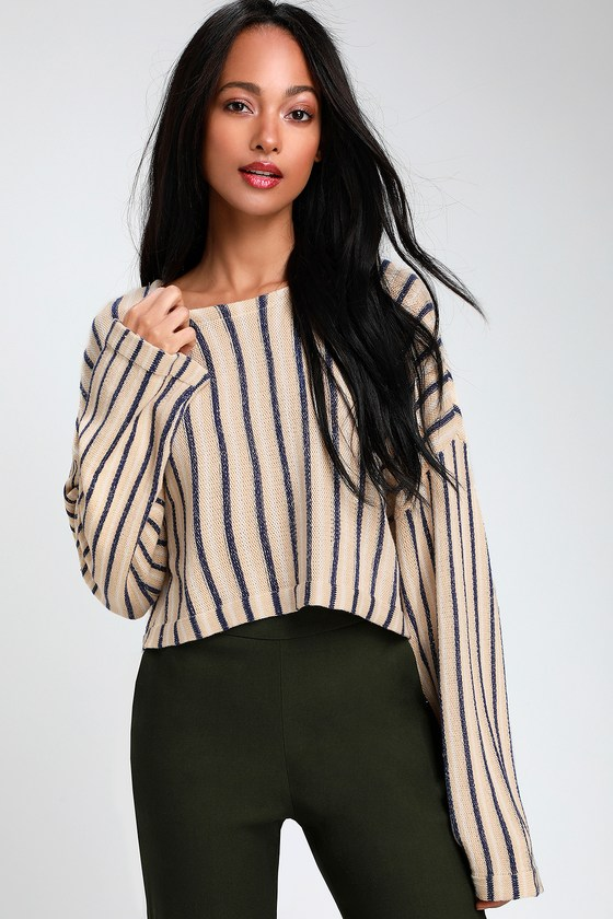 Navy Blue and Beige Striped LOng Sleeve Sweater - Trendy Outfit