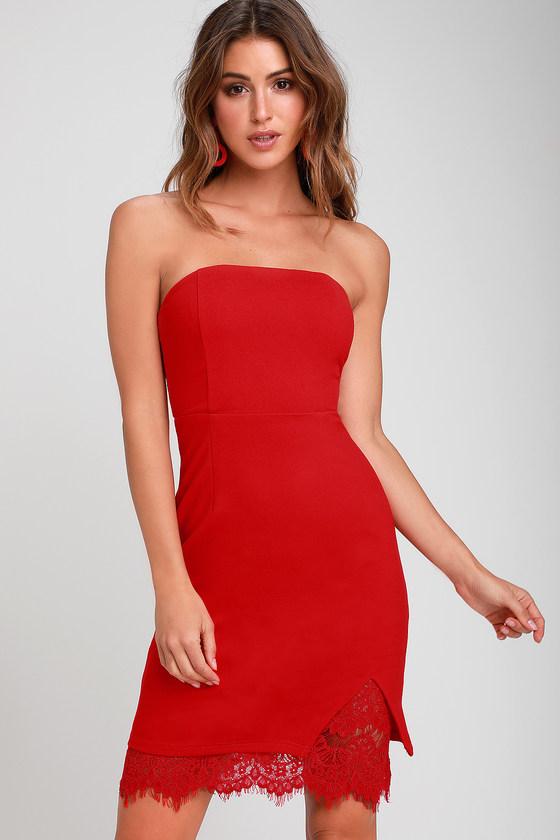68db699f29d Sexy Red Dress - Strapless Dress - Bodycon Dress - Lace Dress