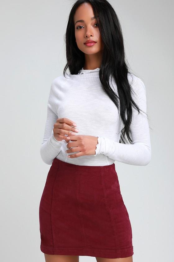 c81cb1912aa5 Free People Modern Femme - Wine Red Skirt - Corduroy Skirt