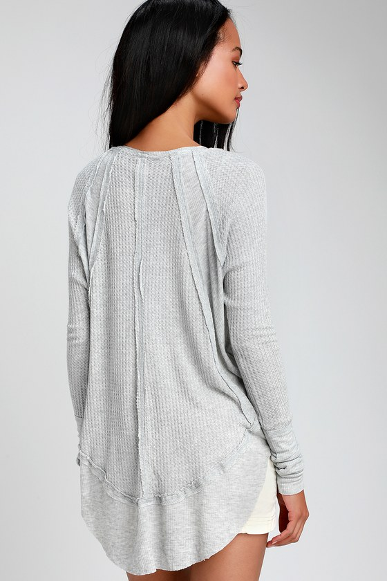 4cb0b194475 Free People Catalina - Grey Long Sleeve Top - Thermal Shirt
