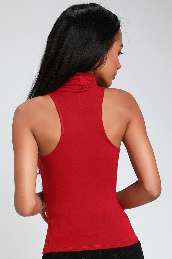 70d8cda0b9008 Chic Red Turtleneck Top - Red Top - Sleeveless Red Top