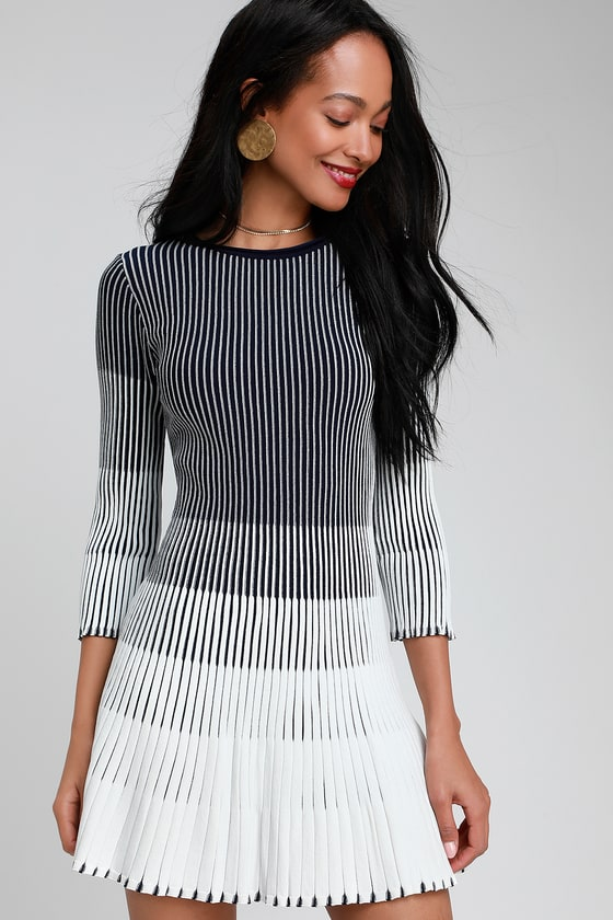 a68eeed709ec Cute White and Navy Blue Striped Dress - Pleated Sweater Dress