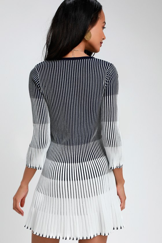 b0067d3c57 Cute White and Navy Blue Striped Dress - Pleated Sweater Dress