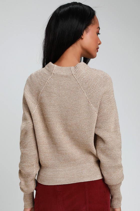 3a2e18104f9 Free People Too Good - Beige Knit Sweater - Knit Pullover Sweater