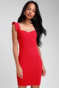 Miriam Red Ruffled Bodycon Dress 8b9f42af547b