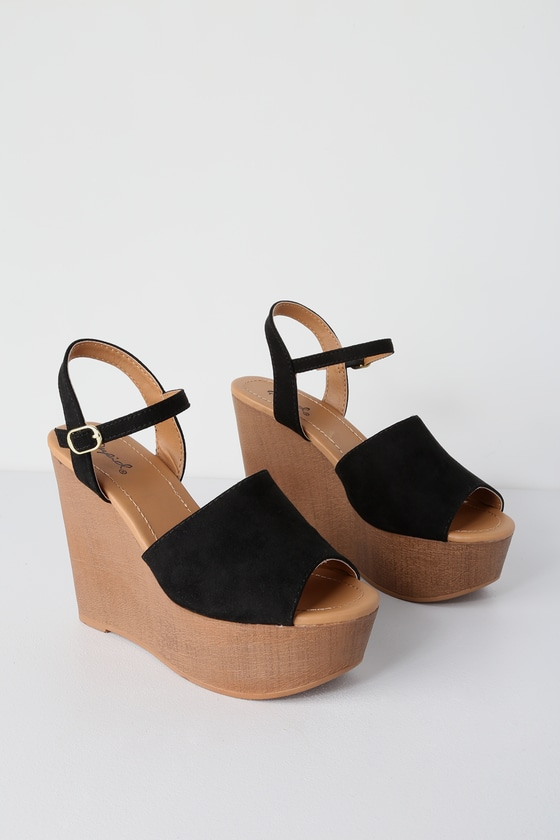 758a489d5 Cute Black Wedges - Vegan Suede Wedges - Platform Wedges