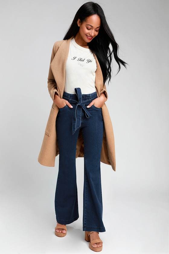 87a8f009 Trendy Jeans - Dark Wash Jeans - Flared Jeans - Tie-Waist Jeans