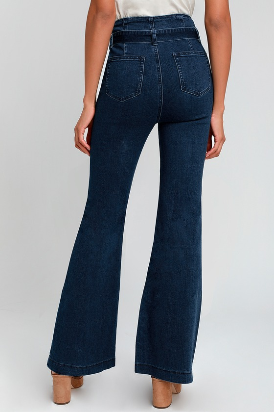 a0345889a791 Trendy Jeans - Dark Wash Jeans - Flared Jeans - Tie-Waist Jeans