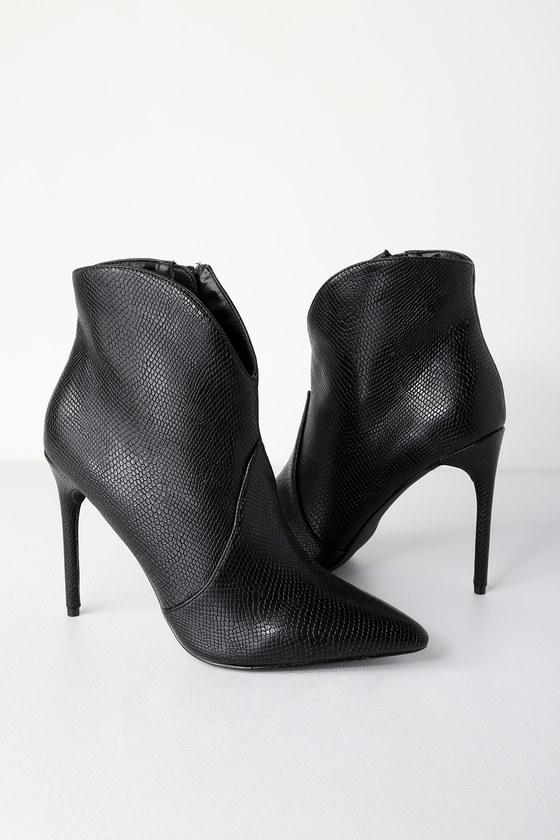 663e08bd16f7 Sexy Black Booties - Crocodile Print Booties - Stiletto Booties