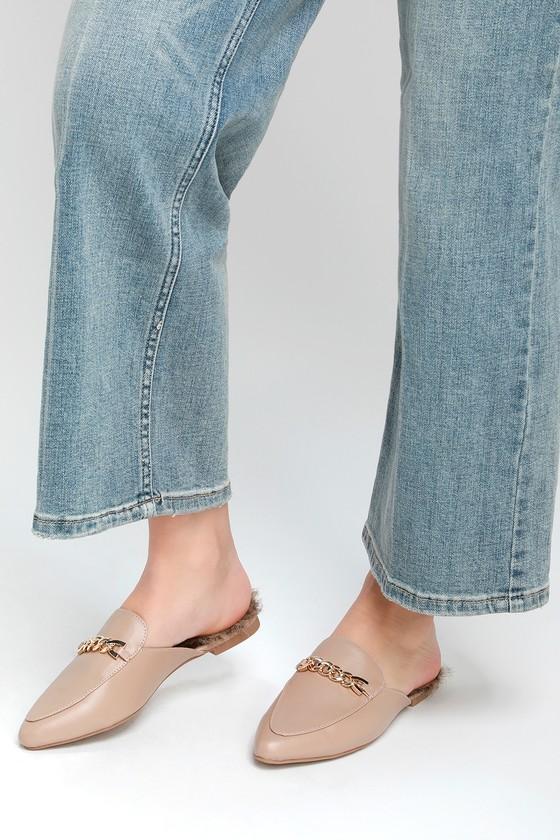 f9d2c0d2cd0 Lulus Antonia 2 - Nude Loafer Slides - Faux Fur Loafer Slides