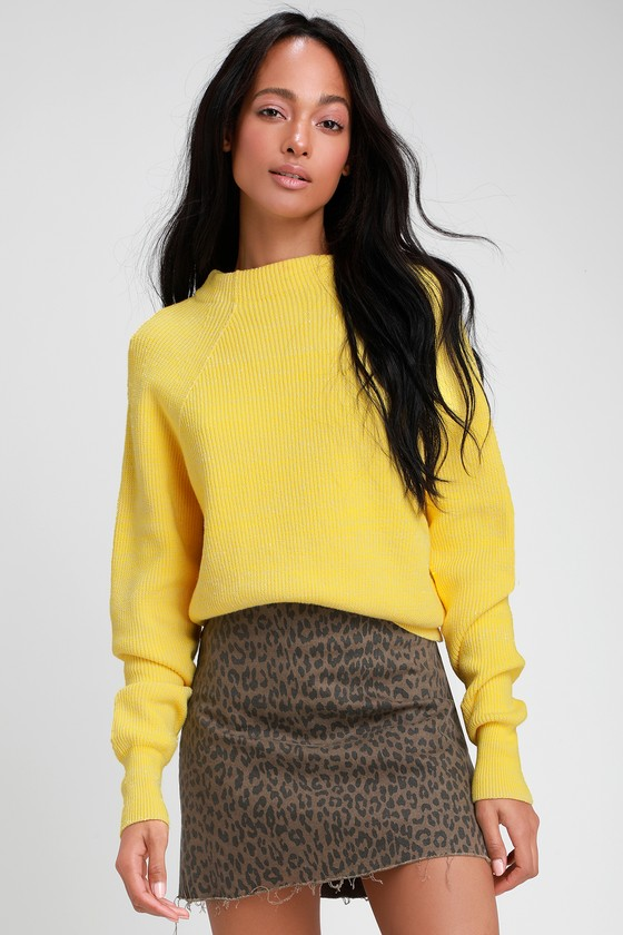 08e4f7982541 Free People Too Good - Yellow Knit Sweater - Pullover Sweater