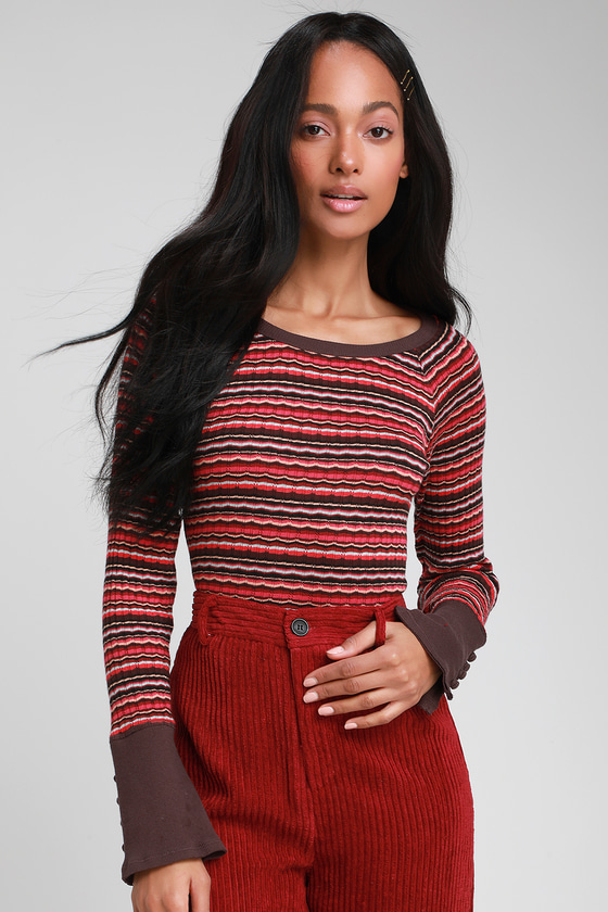 121a788c6608 Free People Donna - Burgundy Multi Stripe Top - Long Sleeve Top