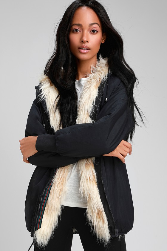 f9507752d6 RD Style - Black Faux Fur Lined Jacket - Black Hooded Jacket