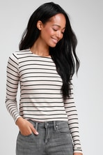 4acbeced80 Aria Navy Blue and Heather Grey Color Block Cardigan Sweater.  83 25.  Sydnee Black and Taupe Striped Long Sleeve Top