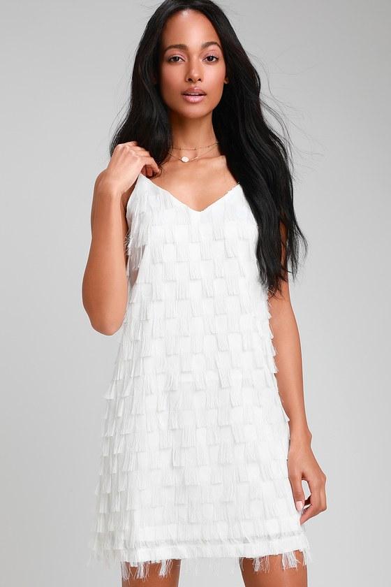 Flapper Dresses & Quality Flapper Costumes Cha Cha Cha White Fringe Shift Dress - Lulus $49.00 AT vintagedancer.com