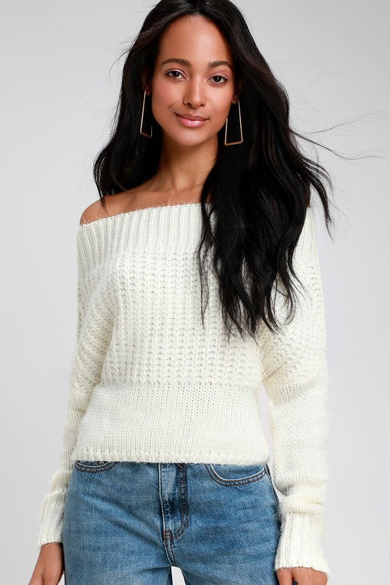 Sage The Label Living In Love Ivory Off The Shoulder Sweater