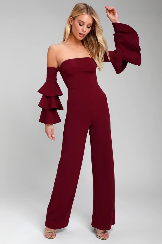 Vivacious Burgundy Off-the-Shoulder Flounce Sleeve Jumpsuit - Lulus