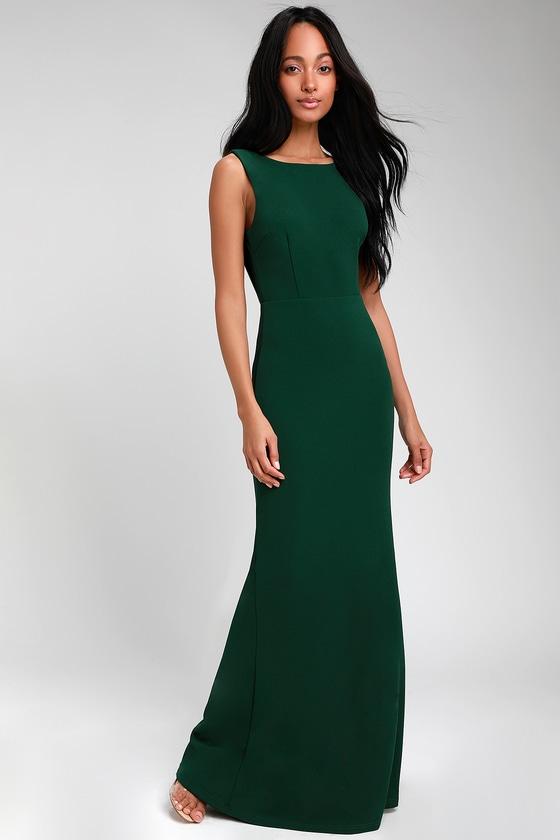 8a27a8a4317 Lovely Hunter Green Dress - Maxi Dress - Backless Dress
