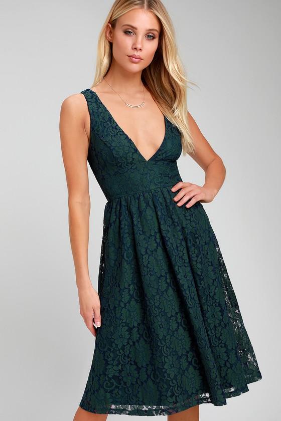eae7e2e2cbf Lovely Navy Blue and Forest Green Dress - Lace Dress - Midi Dress