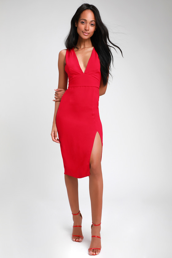 ab518bd8cc1f Sexy Red Dress - Bodycon Dress - Backless Dress - Midi Dress