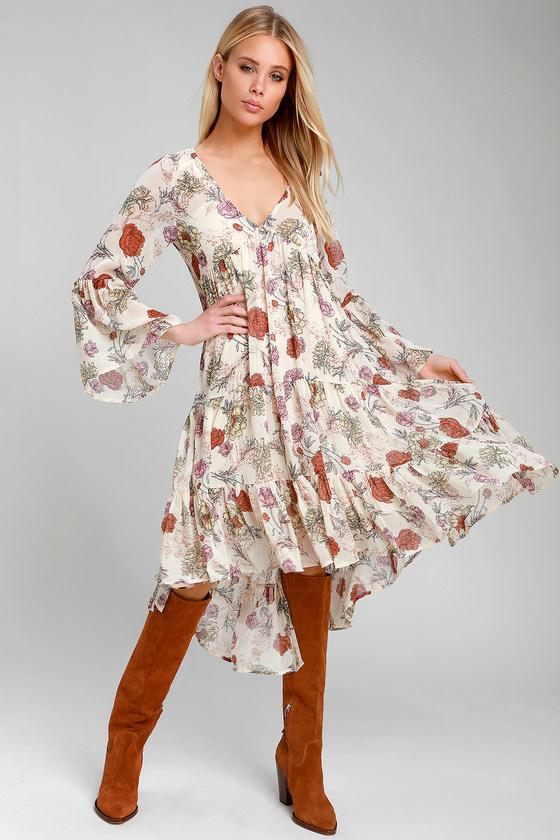 1bdde8761d Pretty Beige Floral Print Dress - Long Sleeve Dress - Midi Dress